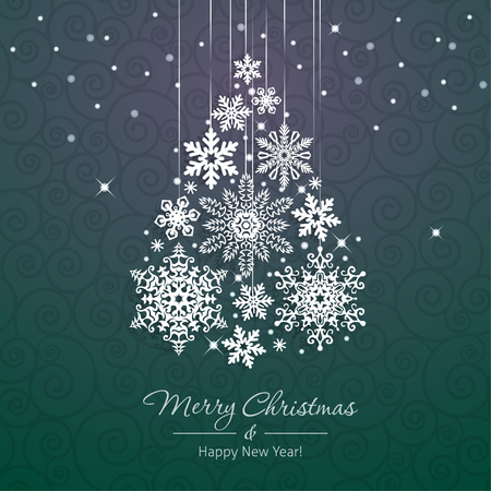 tree shape': White snowflake Christmas tree on green background. Christmas vector card Illustration