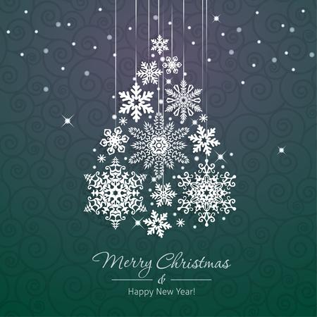 boom: Witte sneeuwvlok kerstboom op groene achtergrond. Kerst vector kaart