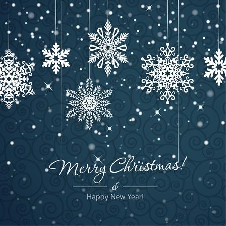 파란색 배경에 흰색 눈송이. 크리스마스 벡터 카드 일러스트