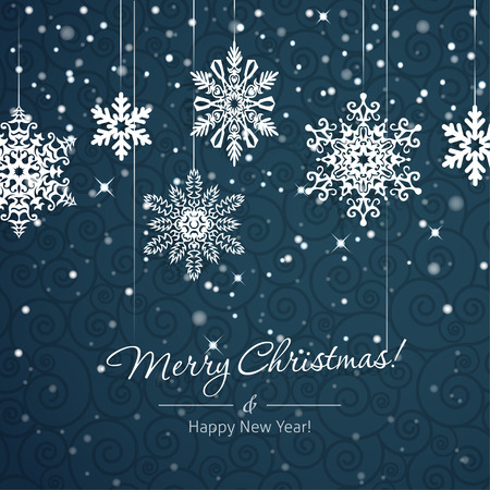 White snowflakes on blue background. Christmas vector card