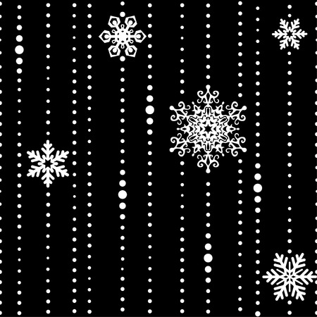 pearls and threads: White beads with snowflakes isolated on black background. Vector seamless pattern