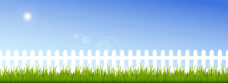 Green grass and white fence on a clear blue sky background. Illustration