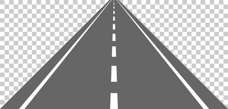 Route droite avec des marques blanches.