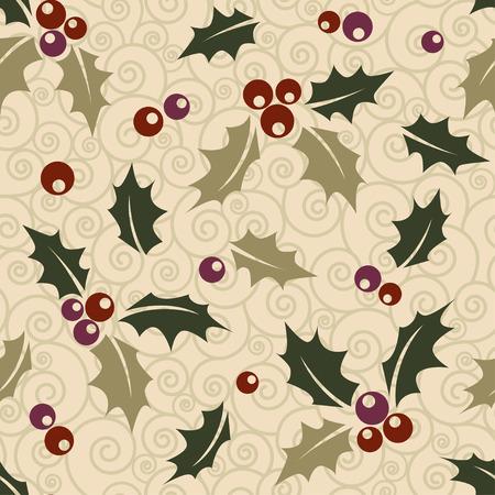 ilex: Ilex seamless Christmas background. Illustration