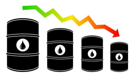 crude: Petroleum barrel price falls down illustration. Illustration