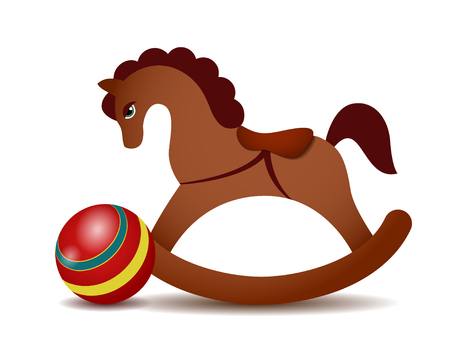 Rocking horse and a red ball isolated on white background.