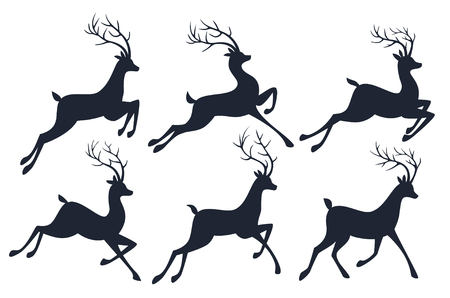 roe deer: Christmas reindeer silhouettes isolated on white background.