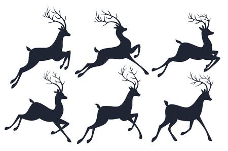 Kerstmisrendier silhouetten geïsoleerd op een witte achtergrond.