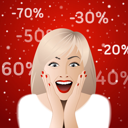 surprised: Surprised woman portrait with discount signs.  Illustration