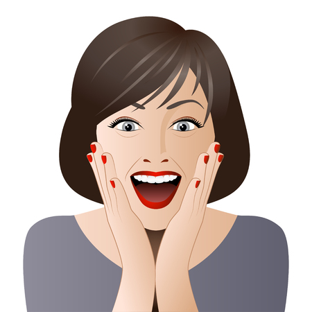 판매, 할인 배너 또는 광고 포스터에 대한 흥분된 여자의 초상화. 일러스트