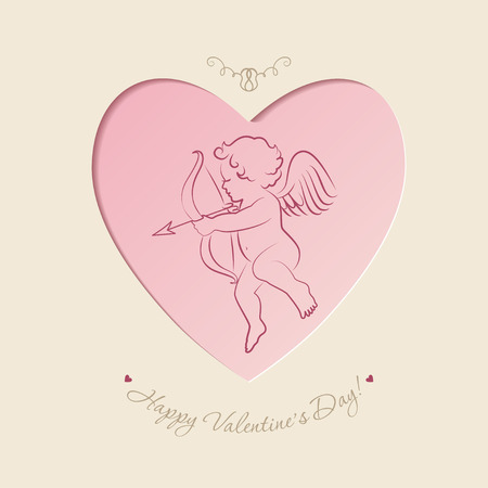 valentine's day: Little cupid inside heart shape in vintage style.