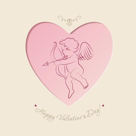 valentine day: Little cupid inside heart shape in vintage style.