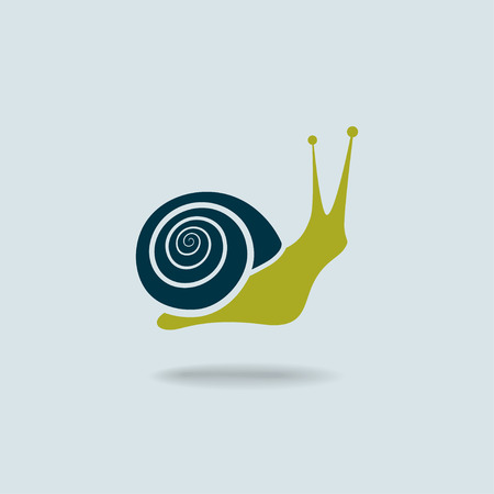 Snail symbol isolated on blue background.