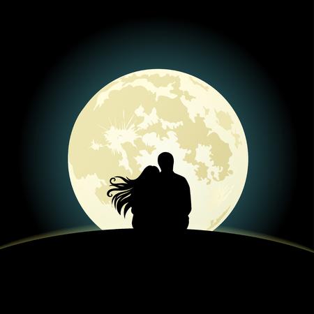 Paar op de heuvel zitten onder het maanlicht. vector illustratie