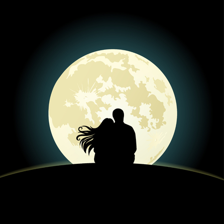 sentarse: Pareja en la colina que se sienta bajo la luz de la luna. ilustración vectorial
