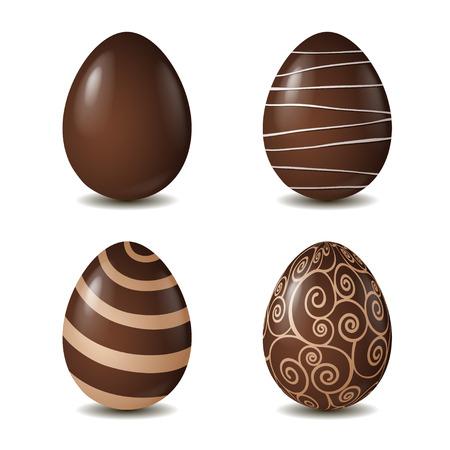 白い背景で隔離のチョコレートの卵のコレクションです。ベクトル図