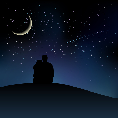 hill top: Black couple silhouettes sitting on the hill and watching starry sky. Vector illustration