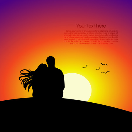 happiness people silhouette on the sunset: Black couple silhouettes in front of sunset background. Vector illustration