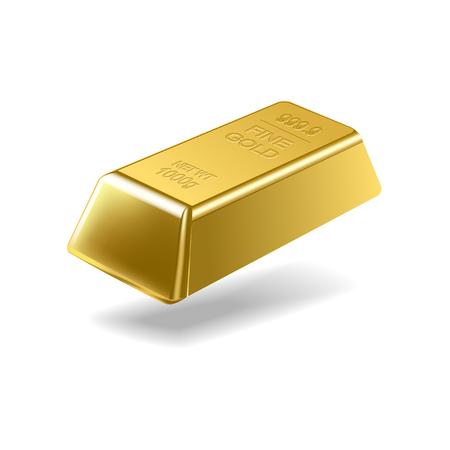 Fine gold ingot isolated on white background. Vector illustration