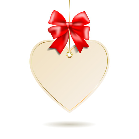 red shape: Heart shape frame with red bow hanging on white background. Vector illustration