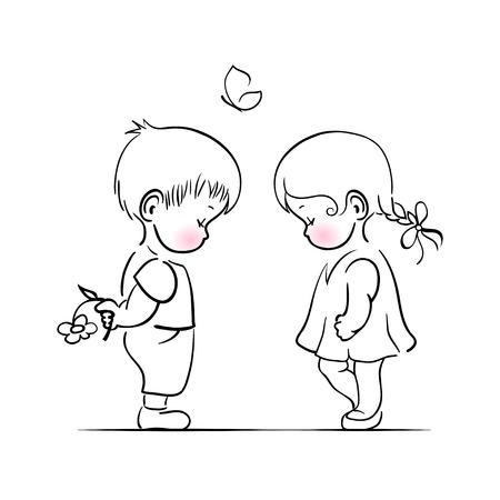 Shying 소년과 소녀 손 그림 그리기입니다. 벡터 템플릿