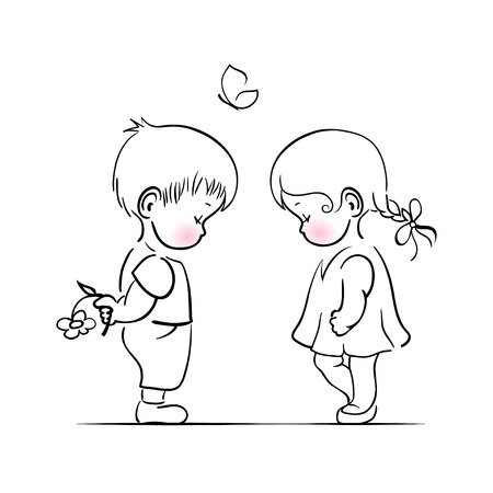 Shying boy and girl hand drawing illustration. Vector template