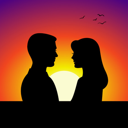 donna innamorata: Black couple silhouettes in front of sunset background. Vector illustration