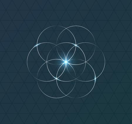 Simbolo geometrico astratto su sfondo blu scuro. illustrazione Vettoriali