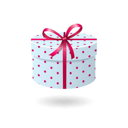 gift ribbon: Blue with pink spots gift box isolated on white background