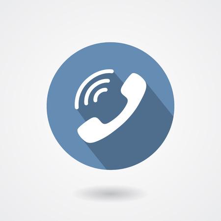 Klingeln Telefonhörer-Symbol auf weißem Hintergrund. Schild