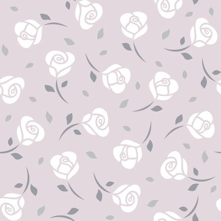rosy: White roses on purple background seamless pattern. illustration Illustration