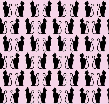 黒猫シルエットのシームレスなパターン。図