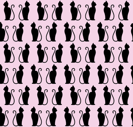 Black cat silhouette seamless pattern. illustration