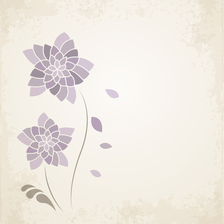 purple flower: Purple flower on old paper background. illustration