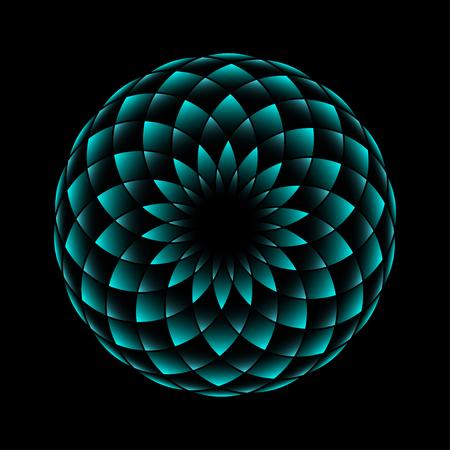 네온 꽃 기하학적 기호 검은 배경에 고립입니다. 삽화 일러스트