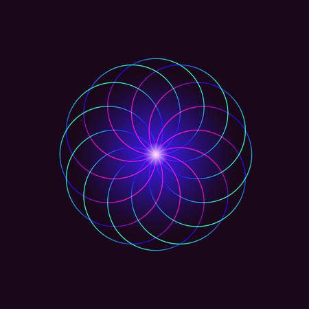 Neon round geometrical sign isolated on black background. illustration Ilustração