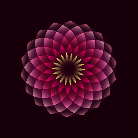Pink flower geometrical sign isolated on black background. illustration Vettoriali