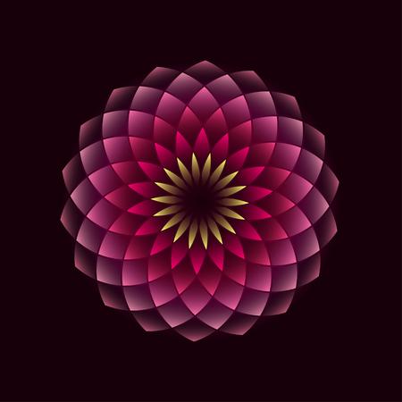 Pink flower geometrical sign isolated on black background. illustration Illustration