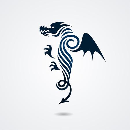 Stylized dragon isolated on white background. illustration