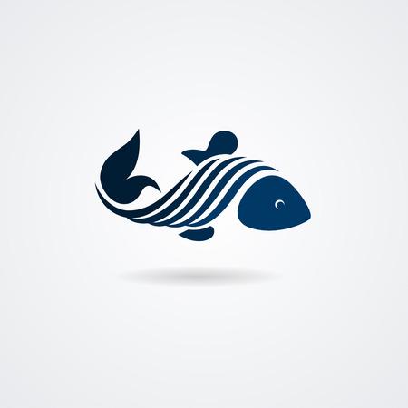 Blue stylized fish isolated on white background. illustration