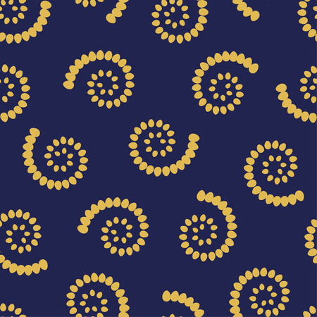 tourbillons jaune isolé sur fond bleu seamless pattern. illustration