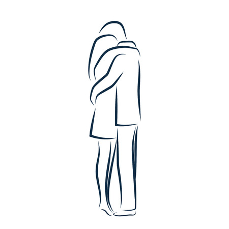 man illustration: Man and woman hugging each other. Vector outline illustration Illustration