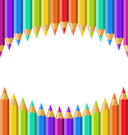 Colored pencils isolated on white background. Vector background for your text