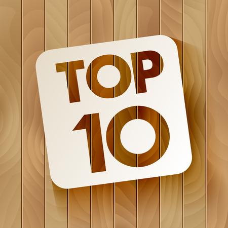 木製の背景に分離されたフレームで TOP10 のレタリング。ベクトル図  イラスト・ベクター素材