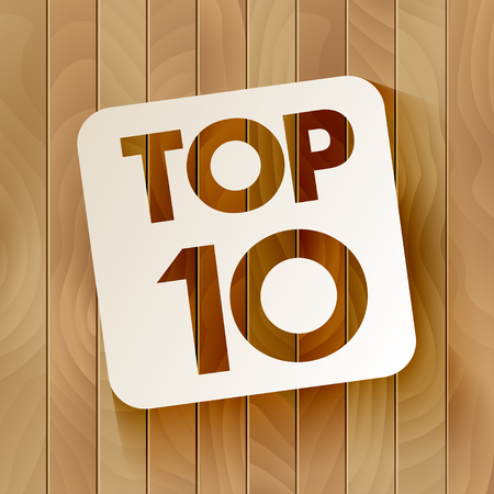TOP10 lettering in the frame isolated on a wooden background. Vector illustration Иллюстрация
