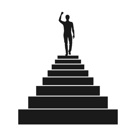 person silhouette: Black man silhouette on the top of stairs isolated on white background. Vector illustration Illustration