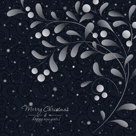 a sprig: White sprig with berries isolated on dark background. Vector card Illustration