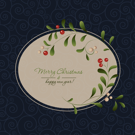 ilex: Green sprig with red berries frame isolated on dark background. Vector illustration Illustration