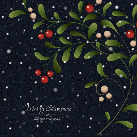 red berries: Green sprig with red berries isolated on dark background. Vector card