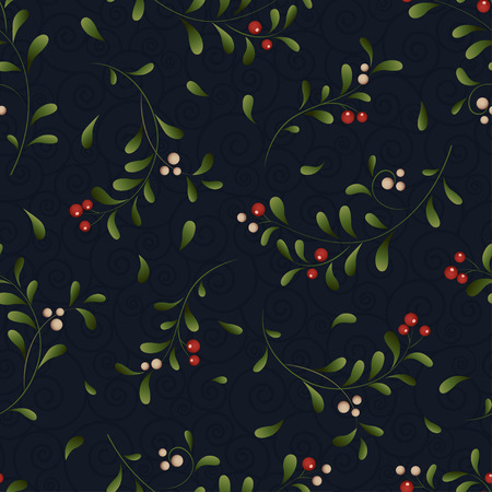 a sprig: Green sprig with red berries Christmas background. Vector seamless illustration